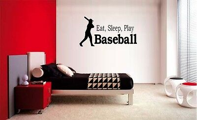 EAT SLEEP PLAY BASEBALL LETTERING DECAL WALL VINYL DECOR STICKER ROOM - Baseball Wall Decor