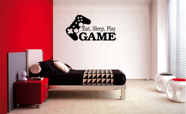 EAT SLEEP PLAY GAME VINYL WALL DECAL LETTERING DECOR STICKER