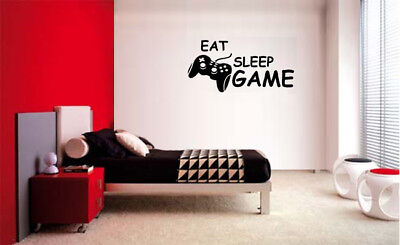 (EAT SLEEP PLAY GAME BOY LETTERING DECAL WALL VINYL DECOR STICKER ROOM VIDEO GAME)