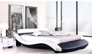Ultra Contemporary Leather Wave Bed