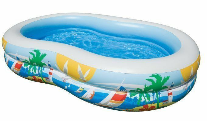AMGS Plastic Kiddie Pool Inflatable Family Large Water Swim Lounge Center Seat Outdoor Indoor Blue /& e-book by Amglobalsupplies