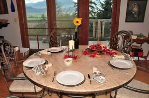 """Beautiful 60"""" round dining table and 6 matching chairs"""