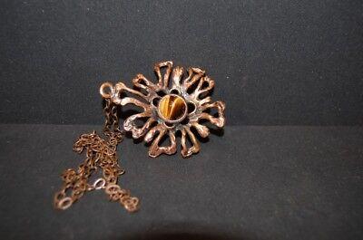 Original Vintage 70s Pendant Pendant German Brutalist 1970er Copper Tiger Eye