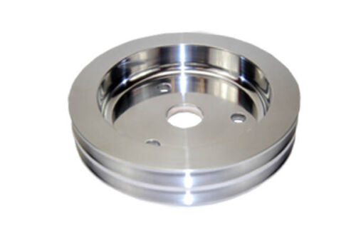 Small-Block-Chevy-Polished-Aluminum-crank-shaft-Pulley-double-groove-billet-lowe