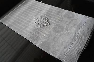 Vintage Irish Linen Damask Guest Bath Towel Stripes Poppies Monogram O