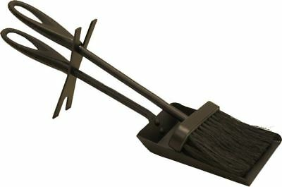 """15"""" Long Midnight Black Looped Handle Fireplace Hearth Brush and Pan Set"""