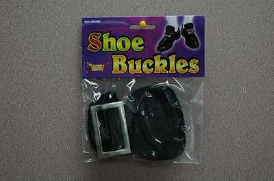 Colonial Shoe Buckles Black Vinyl With Silver Buckle Costume Shoe Accessory - Colonial Shoe Buckles