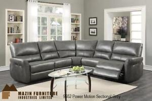 Grey Leather Power Sectional Toronto (MA353)