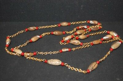 Original Vintage 1950er 50s Jewellery Fashion Jewelry Cowrie Shells with Red