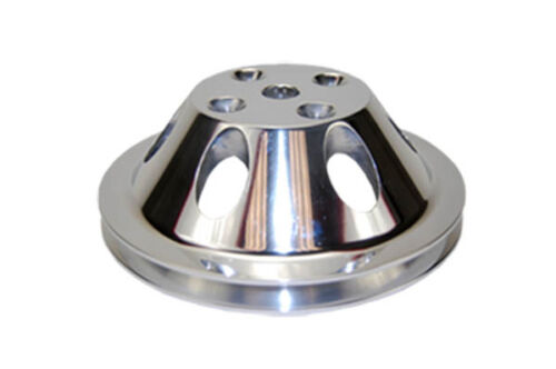 Small-Block-Chevy-Polished-Aluminum-Water-Pump-Pulley-short-single-groove-billet