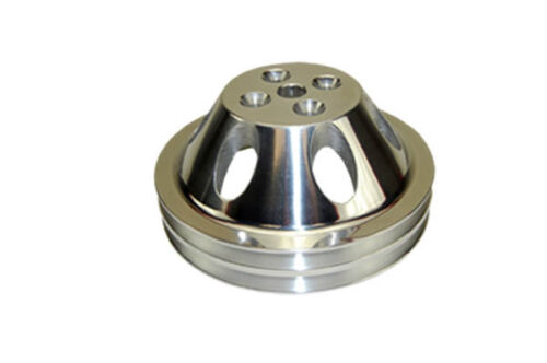 Small-Block-Chevy-Polished-Aluminum-Water-Pump-Pulley-short-double-groove-billet