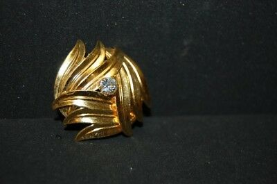 Original Vintage 1950er 50s Tuchclip Elegant Gold Plated A Stone Fashion Jewelry