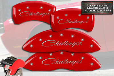 """2011-2020 Dodge """"Challenger"""" Cursive Red Front Rear MGP Brake Caliper Covers BR5"""