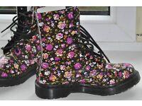 Dr Martens Simone Black Patent Leather Rose Floral