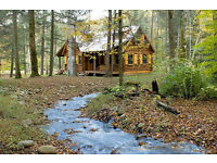 A piece of secluded land which can house a temporary cabin or lodge, with or without cabin or lodge.