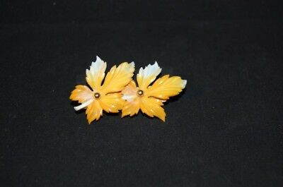 Original Vintage 50s Fashion Jewelry Brooch Plastic Flower Orange Costume