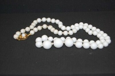 Original Vintage 1950er Fashion Jewelry Glass Beads Chain Hlaskette White Opaque