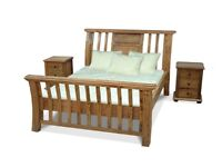Solid Mango King Size Bed, Side Tables, and Chest of Drawers