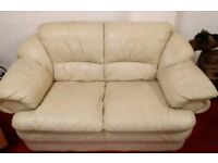 Two piece cream leather sofa