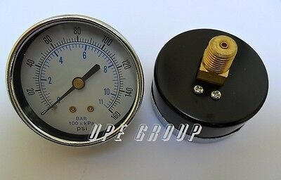New Air Pressure Gauge Air Compressor Hydraulic 2.5 Face 0-160 Back Mt 14 Npt