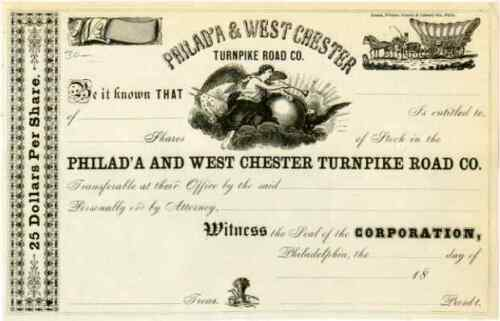 18__ Philad'a & West Chester Turnpike Stock Certificate