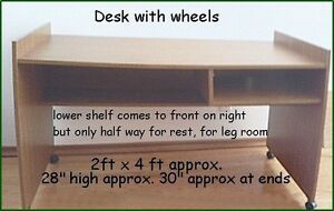 DESK ON WHEELS 2ft x 4ft approx.