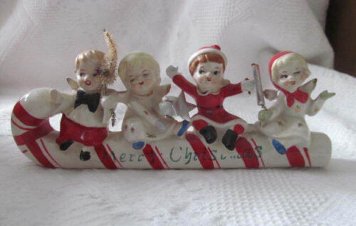 Vintage Christmas Angel Children Riding CANDY CANE SLEIGH~Commodore Sticker
