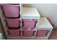 Ikea trofast with 2 pink boxes included