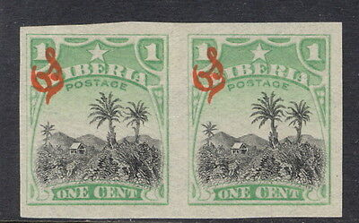Liberia 1909, 1c Coffee plantation official, IMPERFORATE pair, #O59