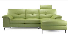 DFS Pistachio 3 seat leather sofa with right hand chaise end