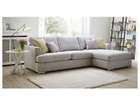 DFS Silver Freya 4 Seater Lounger L Shaped Corner Sofa