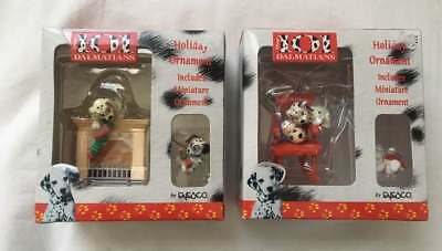 2 ~ ENESCO DISNEY 101 DALMATIONS HOLIDAY ORNAMENTS W/ MINIATURE Fireplace Chair