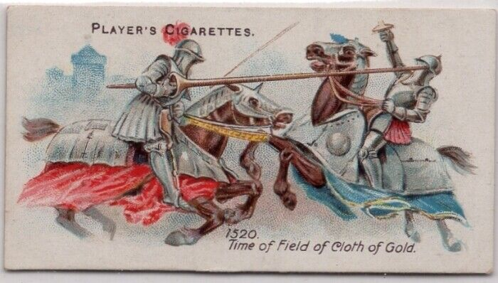 1520 A.D. Mounted Knights Jousting Armor Weapons 100+ Y/O Trade Ad Card