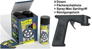 PLASTI DIP 4x 400ml Felgen Sprüh Folie schwarz matt Spraydose + Sprühpistole