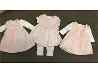 Baby girl newborn 3 dresses 1 from mothercare 2 x boots £5
