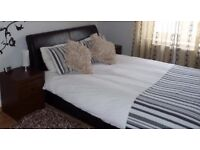 King size leather bed with orthopedic Mattress