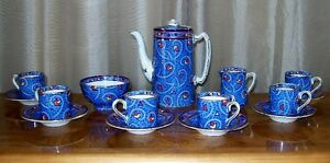c.1930 ART DECO BURLEIGH WARE COFFEE DEMI TASSE 15 PIECE SET