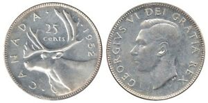 A vendre : 1952 George VI Canadian Silver 25 Cents.