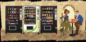 Distributeurs à café, boissons et alimentaires à vendre