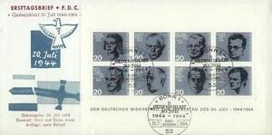 Germany 1964 FDC BL 3a Krieg War Heroes - Dabrowa, Polska - Germany 1964 FDC BL 3a Krieg War Heroes - Dabrowa, Polska