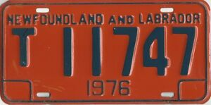 1976 Orange Newfoundland License Plate # T11747 - Good Condition