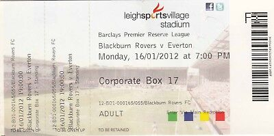 Ticket - Blackburn Rovers Reserves v Everton Reserves 16.01.12
