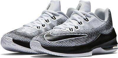Nike Boy's Air Max Infuriate Basketball Shoes, White/Black, 1Y M Big Kid US