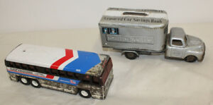 2 Tin Toys Greyhound Bus Armored Truck Japan Friction Toy