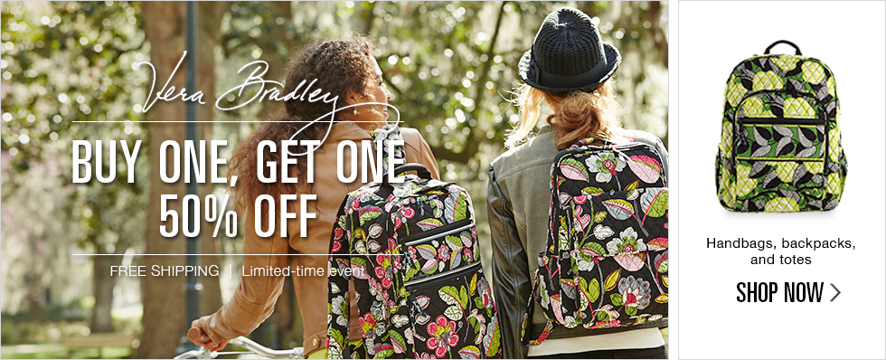 Buy one, get one 50% off Vera Bradley handbags, backpacks, and totes | Free Shipping | Limited-time event | Shop now