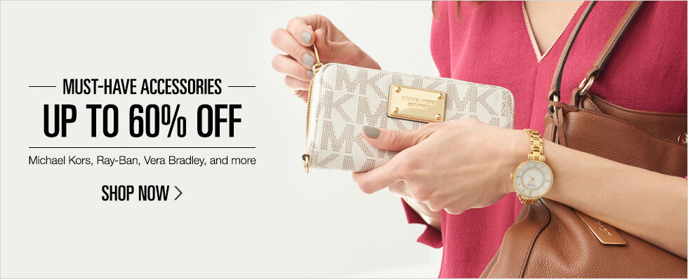 Up to 60% off Must-Have Accessories | Michael Kors, Ray-Ban, Vera Bradley, and more | Shop now
