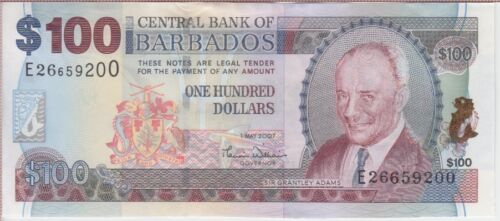 BARBADOS BANKNOTE P. 71a 100 DOLLARS 2007  ALMOST UNCIRCULATED  USA SELLER