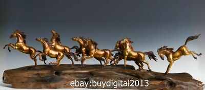 100 CM Chinese zodiac Art Deco Bronze Painted Eight Horse Fine Equine Sculpture