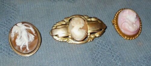 Group of 3 Nice  Antique & Older Vintage  Cameo Pins