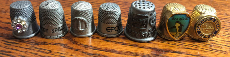 Thimbles Lot of 7 Pewter Florida Souvenirs Epcot Kennedy Space Sea World Whale